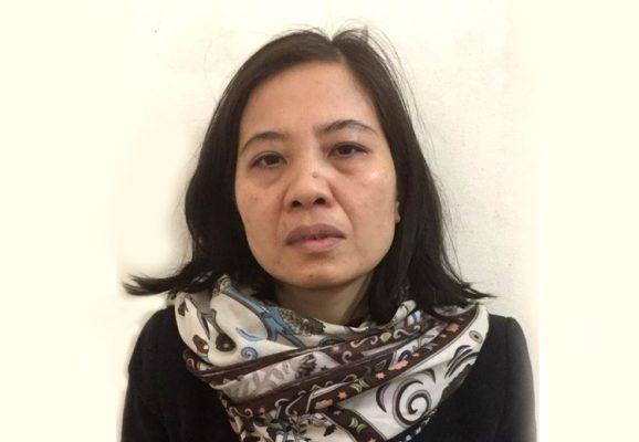 Bị can Nguyễn Thị Thu Thủytại cơ quan công an. Ảnh:Bộ Công an